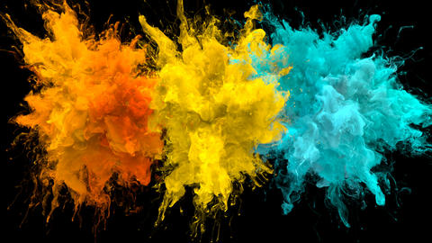 Orange Yellow Cyan Color Burst - Multiple colorful smoke explosions fluid alpha Animation