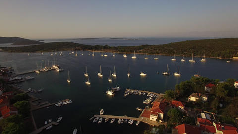 Aerial - Ilovik village and the nearby safe anchorage for sailboats Footage