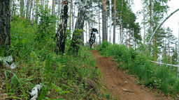racer mountain bike rides along a trail in forest and jumping over hill Footage