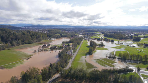 Aerial - Flooded landscape. Natural disaster in Ljubljana, Slovenia Footage