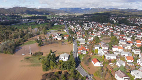 Aerial - Properties flooded by rain storms Footage