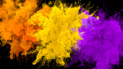 Orange Yellow Purple Color Burst Multiple colorful smoke explosions fluid alpha Animation