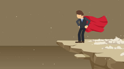 Superhero businessman standing on cliff ready for challenge. Business symbol. Challenge and Success Animación