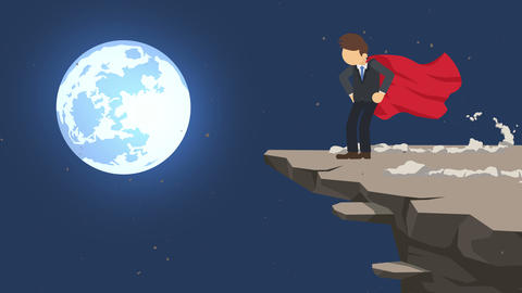Superhero businessman standing on cliff ready for challenge. Business symbol. Challenge and Success Animation