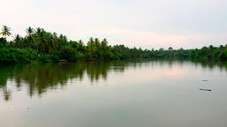 Nature landscape with lake in rural.River with tropical forest Footage