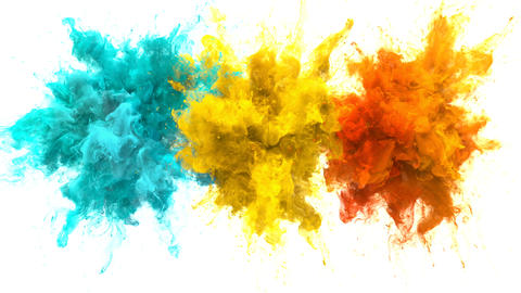 Cyan Yellow Orange Color Burst Multiple colorful smoke explosions fluid alpha Animation
