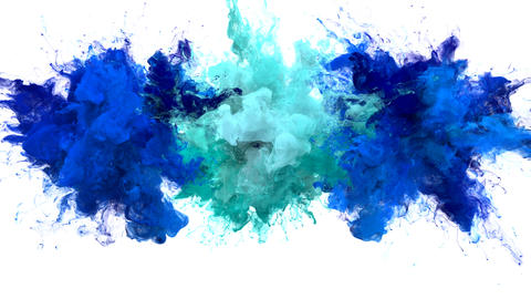 Blue Cyan Color Burst Multiple colorful smoke explosions fluid particles alpha Animation