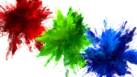Red Green Blue Color Burst Multiple colorful smoke explosions fluid alpha matte Animation