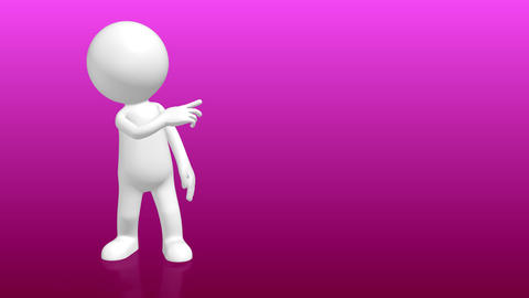 3D Human character pointing to empty placeholder Animation