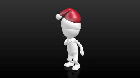 funny 3D Human character with christmas hat dancing the twist Animation