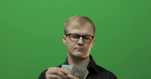 Man received paper money for a major deal. Counting money green screen Live Action
