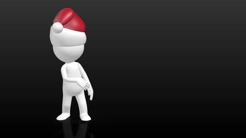 3D Human character with christmas hat pointing to empty... Stock Video Footage
