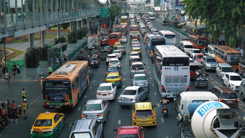 Traffic congestion on the roadway at rush hour in the evening. Traffic jam on a Live Action
