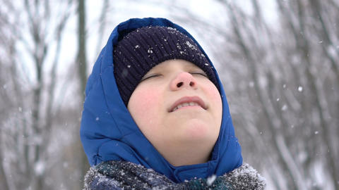 portrait young teenage boy enjoying snow in the winter forest, snow falls Footage