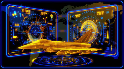 3D Blue Yellow Jet Fighter HUD Interface Motion Graphic Element Animation