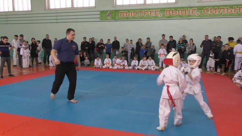 Orenburg, Russia - April 7, 2019 year: Boys compete in karate Live Action