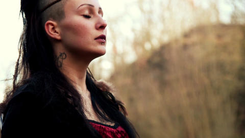 close up face beautyful Viking woman Stock Video Footage