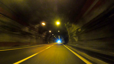 Driving The Car In A Small Illuminated Tunnel 1