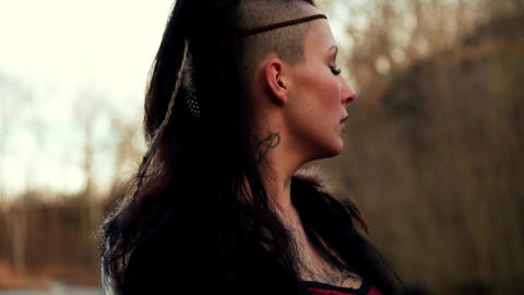 close up face beautyful Viking woman Footage