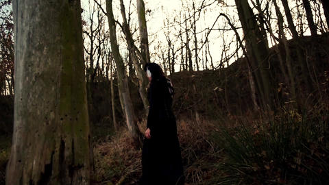 Viking woman walking through autumn forest Live Action