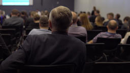 businessman on the business development forum. International Economic Business Footage