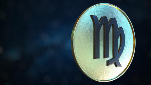 Gold token with Virgo Zodiac sign. Loopable motion background Live Action
