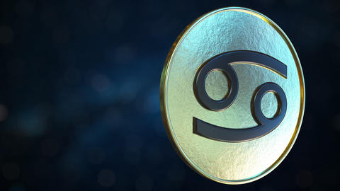 Gold token with Cancer Zodiac sign. Loopable motion background Live Action