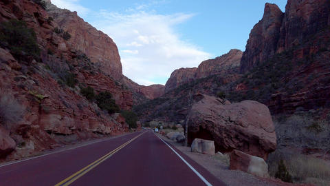 Driving through Zion Canyon National Park in Utah - UTAH, USA - APRIL 1, 2019 Live Action