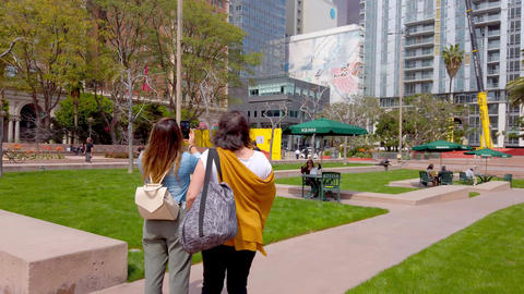 Pershing Square Los Angeles Downtown - LOS ANGELES, USA - APRIL 1, 2019 Live Action