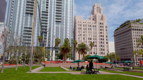Big office buildings at Los Angeles Downtown - LOS ANGELES, USA - APRIL 1, 2019 Live Action