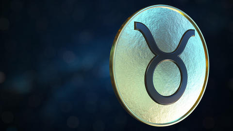 Gold token with Taurus Zodiac sign. Loopable motion background Live Action