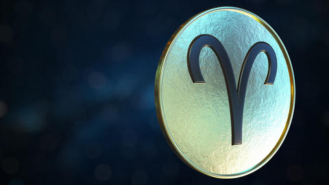 Gold token with Aries Zodiac sign. Loopable motion background Live Action