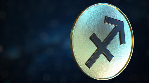 Gold token with Sagittarius Zodiac sign. Loopable motion background Live Action