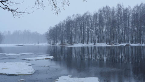 river bank winter landscape panorama Footage