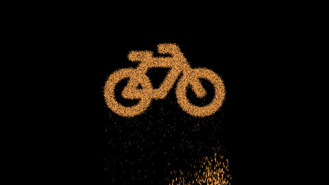 Symbol bicycle appears from crumbling sand. Then crumbles down. Alpha channel Premultiplied - Matted Videos animados