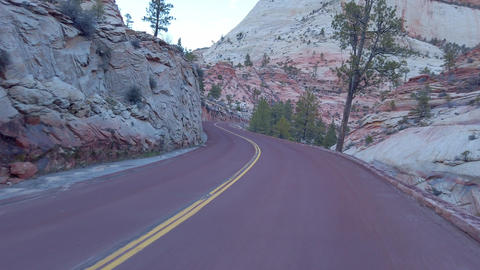 Driving through Zion Canyon National Park in Utah - travel photography Live Action