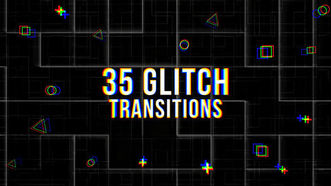 35 Glitch Transitions After Effectsテンプレート