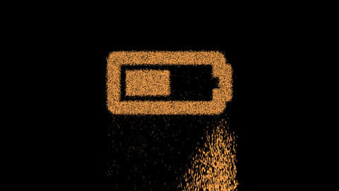 Symbol battery half appears from crumbling sand. Then crumbles down. Alpha channel Premultiplied - Animation