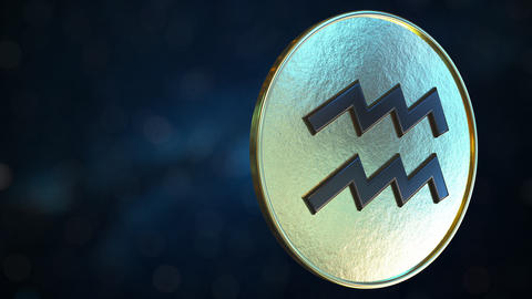 Gold token with Aquarius Zodiac sign. Loopable motion background Live Action