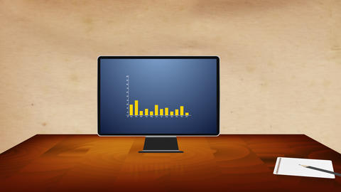 The computer on the desk displays the business results of the company using a graph Animation