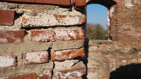 Old brick wall close up at ancient ruins Footage