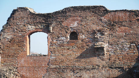 Old eroded brick wall and ruins Footage