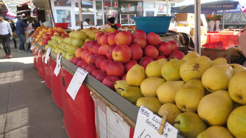 Organic apples at the market Footage