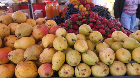 Pears and fruits at the market Footage