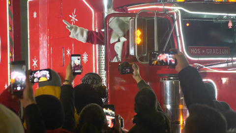 Santa Claus coming with a big red truck Footage