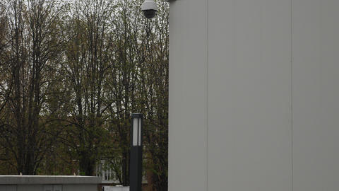 Surveillance cameras dome and fixed at the building corner Footage