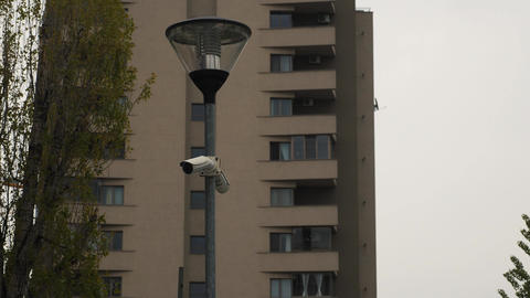 Surveillance cameras in front of apartments block Footage