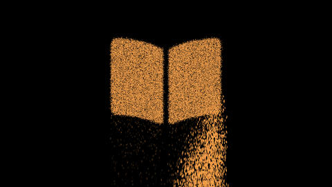 Symbol book open appears from crumbling sand. Then crumbles down. Alpha channel Premultiplied - Animation