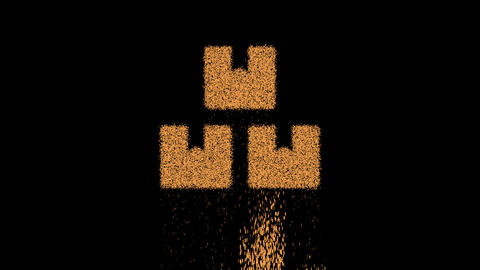 Symbol boxes appears from crumbling sand. Then crumbles down. Alpha channel Premultiplied - Matted Animation