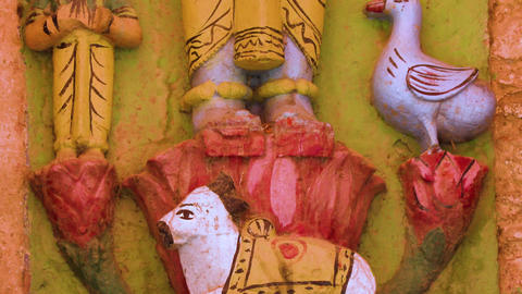 Detail of colorful statue of Indian Hindu God Shiva, Varanasi, India 4k footage Live Action